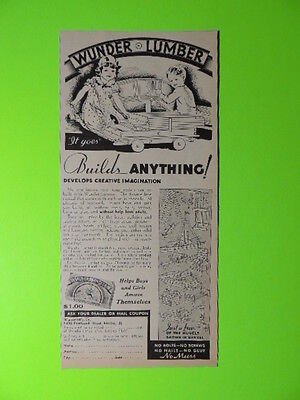 "1932 Wunder Lumber ""it Goes"" ~ Builds Anything ~ Toy Sales Art Ad"