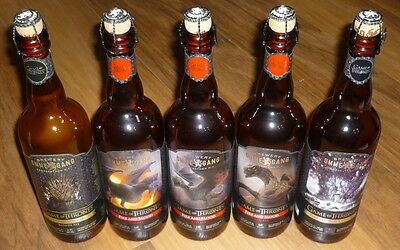 EMPTY Ommegang Brewery Game of Thrones SET OF 5 Beer Bottle Re-Corked Dragons