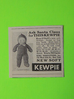 1931 Ask Santa Claus For This Kewpie ~ Rose O'neill's New Doll Toy Sales Art Ad