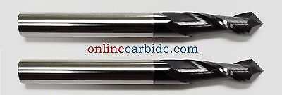"LOT OF 3 PCS - 3/16"" 2 FLUTE 90 DEGREE CARBIDE DRILL MILL - TiALN COATED"