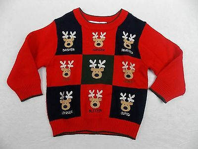 B T Kids Sweater Reindeer Appliqued Front Red Black Size 3T #1455