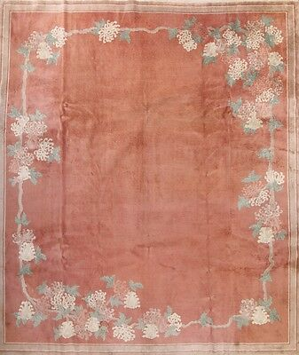 Antique Palace Sized Floral 12x14 Art Deco Chinese Oriental Area Rug Wool Carpet