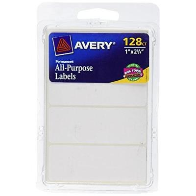 Avery All-Purpose Labels, 1 x 2.75 Inches, White, Pack of 128 (6113) New
