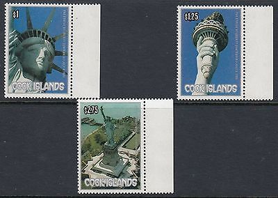 COOK ISLANDS 1996 STATUE OF LIBERTY, Set of 3, Mint Never Hinged