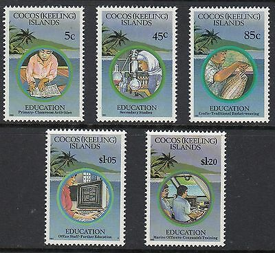 COCOS ISLANDS 1993 EDUCATION, Set of 5, Mint Never Hinged