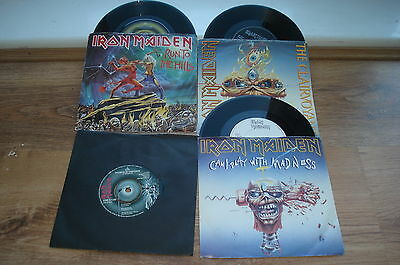 "Iron Maiden 4 x UK 7"" Woman In Uniform Run To The Hills Clairvoyant  Can I Play"