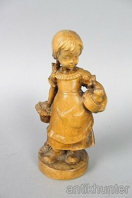 "lovely vintage wooden figurine , girl with cat , 4 1/2"" high"