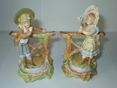 Pair Of Sitzendorf Figures Boy & Girl By Fences Figurines