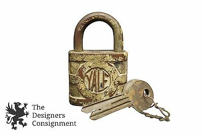 Stamford Yale Towne Mfg Co Antique Padlock Key Conn Brass Lock Steampunk Rustic