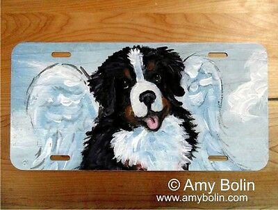 Bernese Mountain Dog  aluminum LICENSE PLATE by Amy Bolin MY SWEET ANGEL