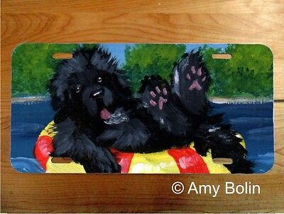 Newfoundland Dog aluminum LICENSE PLATE Amy Bolin Dog Days Blk. PERSONALIZE IT