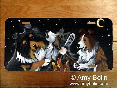 Sheltie Sable dog aluminum LICENSE PLATE  Amy Bolin Dog Campfire PERSONALIZE IT