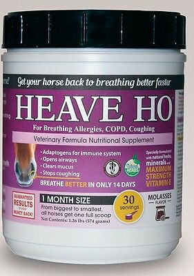 HEAVE HO Horse Allergy Heaves Breathing Relief Supplement MOLASSES Flavor 30days