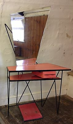 Amazing Bespoke Mid Century 1950s Pink Formica Hairdressing Dressing Table