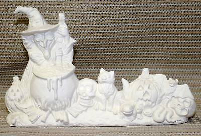 Ceramic Bisque Witch with Kettle Scene Nowell Mold 2029 U-Paint Ready To Paint