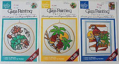 Lot Of 3 Plaid Gallery Glass Painting Patterns Waterlilies Macaws Parrot