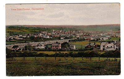 Vintage postcard View from Penlan, Carmarthen. Valentine's. pmk Carmarthen 1914