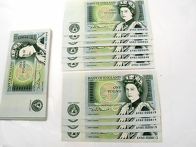 Old One Pound Note X41 Consecutive Numbering  Uncirculated Somerset Isaac Newton