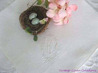 "ANTIQUE MADEIRA * Embroidered MONOGRAM E MADEIRA Large 18"" VINTAGE BRIDAL HANKY"