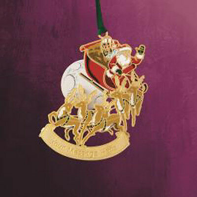 New ChemArt Engraveable Santa on Sleigh 24K Gold over Brass Christmas Ornament