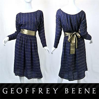 Rare VTG 80s GEOFFREY BEENE PART TWO Gold Blue Silk Outfit Top & Skirt Set Suit