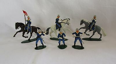 Set of 6 AIRFIX US 7th Cavalry Soldiers & Horses 1:32 Scale Painted - 1970s