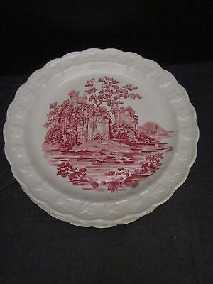"6 Taylor Smith Taylor Pink Castle Transferware Lunch Plates. 8 1/4"". Antique"