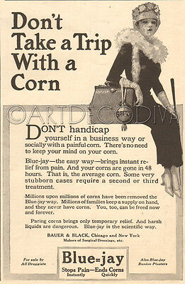 Antique 1917 Blue Jay FOOT Don't Trip With CORN Podiatry Podiatrist Woman Art Ad