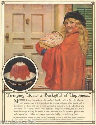 1920's antique Strawberry JELL-O Basket Norman PRICE Art Happy Girl KITCHEN Ad