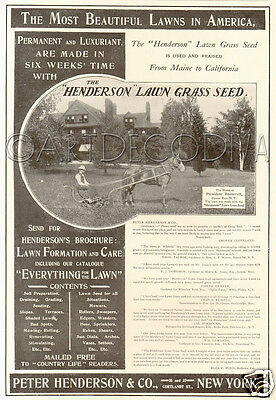 Antique Henderson Grass Lawn Mower OYSTER BAY NY President Roosevelt Home Ad