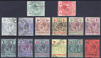 Soloman Is 1914 1/2d-£1 Postage-Revenue SG 22-38 Scott 28-41 VFU Cat £425($697)