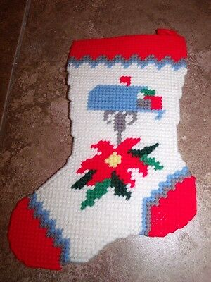 """Handmade COMPLETED Plastic Canvas CHRISTMAS MAILBOX STOCKING Wall Hanging 12"""""""