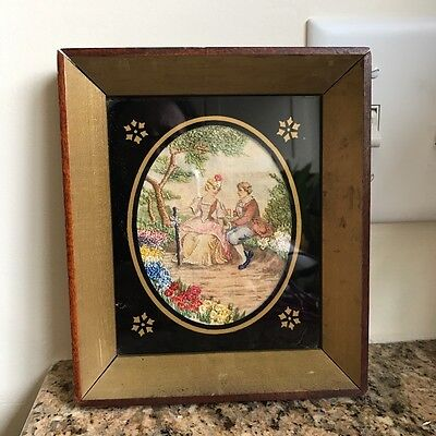 Vintage Finished Framed NEEDLEPOINT COURTING COLONIAL COUPLE Old
