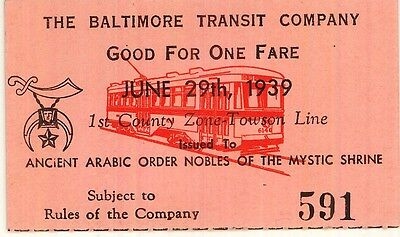 "Baltimore Transit Co streetcar ticket, 2-1/2"" X 1-1/2"" June 29, 1939 - Shriners"