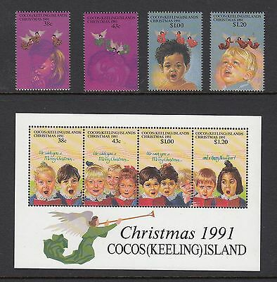 COCOS ISLANDS 1991 CHRISTMAS Set of 4 + Miniature Sheet, Mint Never Hinged