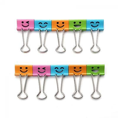 Home Office 25/19mm Paper File Organizer Binder Clips Metal Smile Face