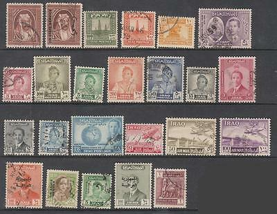 Iraq pre-1963 hi val selection 25 diff used stamps cv $52.25