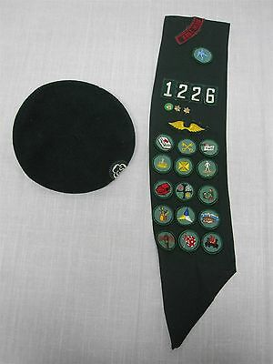 Vintage Nyc New York Girl Scout Sash W/ Badges And Cap