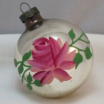 Vintage Old Blown Glass Silver Mirrored Ball Ornament Handpainted Rosebuds Vines