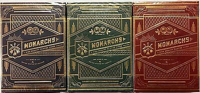 Monarchs 3 Deck Set Blue Green Red Playing Cards Poker Size Theory 11 USPCC New