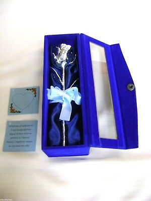 "BIRTHDAY/VALENTINE GIFT Silver Dipped Real Rose 6""in Blue Satin & Velvet Box NEW"