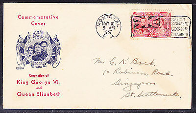 Canada 1937 Coronation First Day Cover - addressed to Singapore