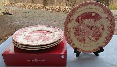 Set of FOUR Johnson Brothers Twas the Night Before Christmas Dinner Plates NEW
