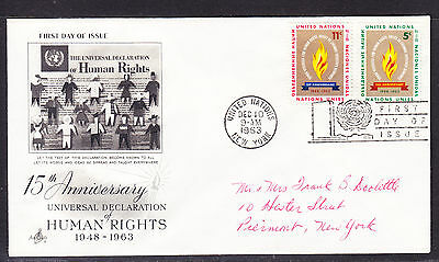 """United Nations """"Artcraft"""" 1963 - Human Rights 15th Anniv  FDC addressed"""
