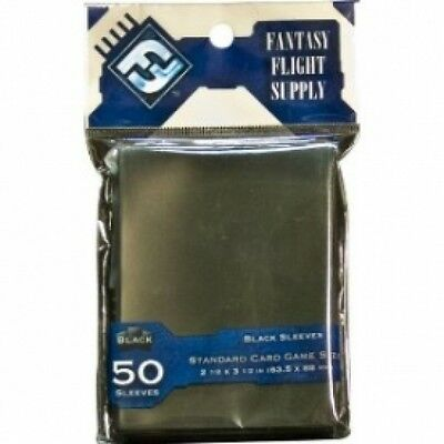 Fantasy Flight Supply 50 Black Standard Sleeves - 10 Packs Brand New