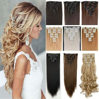 UK Full Head Real Thick Clip In Remy Hair Extensions Curly Straight 8 Pieces aac