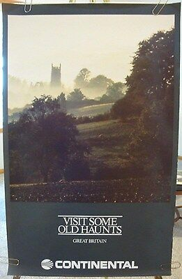 """Continental AIRLINES ORIGINAL POSTER """"Great Britain"""" 1980's VISIT SOME OLD HAUNT"""