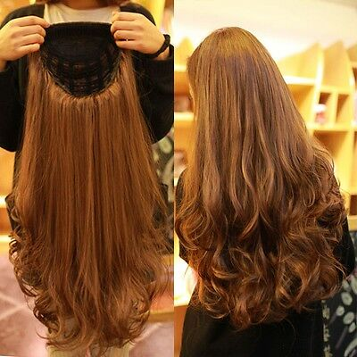 UK Post Ladies Women Long Curly Straight 3/4 Full Wig AS Real Synthetic New Hair