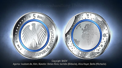 Germany 2016: with Polymer ring Blue Planet Earth Brilliant uncirculated