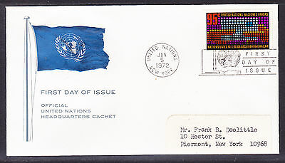 United Nations 1972 - 95c Letter First Day Cover addressed
